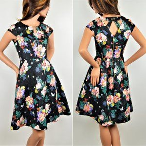 NWT Gorgeous Yumi Jacquard Floral Fit&Flare Dress